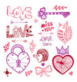 happy valentines day cute doodle collection with vector image vector image