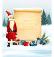 holiday christmas background with santa claus vector image vector image