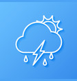 icon weather sun cloud rain with lightning vector image