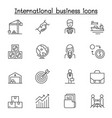 international business icon set in thin line style vector image vector image