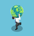 isometric businessman carrying world or earth vector image vector image