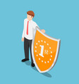 isometric businessman standing with winner shield vector image vector image
