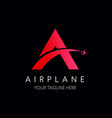 letter a logo with airplane symbol travel logo vector image