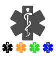 life star medical emblem flat icon vector image vector image