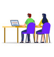 man and woman with laptop studying or working vector image vector image