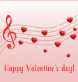 music notes red hearts vector image vector image