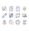 pencil online shopping and multichannel icons set vector image vector image