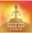 poster invitation on yoga day 21 june vector image vector image