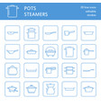 pot pan and steamer line icons restaurant vector image vector image