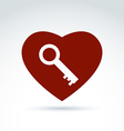 red heart with a key isolated on white background vector image