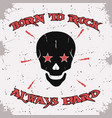 rock and roll skull vector image vector image