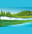 scene with pine trees by the river vector image vector image