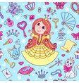 Seamless pattern with cute little princess in the vector image vector image