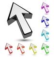 Set of multicolored 3d arrow cursor pointer vector image vector image