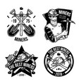 set of vintage mining emblems vector image