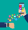 smart watch smartphone synchro concept vector image vector image