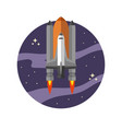 space shuttle in flat style isolated on white vector image
