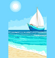 summer landscape with sailboat background vector image