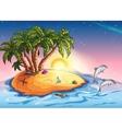 treasure island in ocean and vector image vector image
