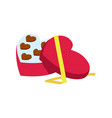 valentine day icon with candy box in heart shape vector image vector image