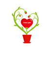 valentines day flower stem and red hearts vector image vector image