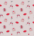valentines day love icon seamless pattern cartoon vector image vector image
