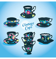 Vintage Cups Collection vector image