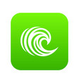 water wave icon green vector image vector image