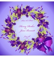 Wedding card with violet iris flower wreath vector image vector image