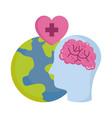 world mental health day profile head brain planet vector image vector image