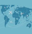 world travel concept with airplane vector image
