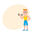 young man training biceps with dumbbell vector image vector image