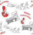 sketch seamless background of santa claus with vector image