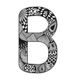 Zentangle stylized alphabet Lace letter B in vector image