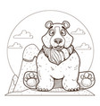bear on the theme of protection of animals and vector image