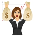 businesswoman holding two big dollar money bags vector image vector image