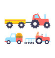 cars with equipment working on farm icon vector image