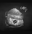 chalk drawn sketch sack with coffee beans vector image vector image