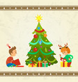 christmas holiday atmosphere children with gifts vector image vector image