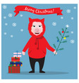 christmas with funny pig and vector image vector image