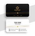 clean black white and golden business card design vector image vector image