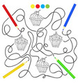 coloring page with cupcake drawing game for vector image vector image