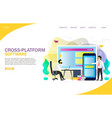 cross-platform software landing page website vector image vector image