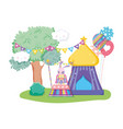 cute circus rabbit with layer in stage vector image