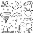 doodle of weather object set vector image vector image