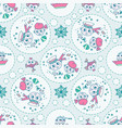 doodle seamless pattern sailor and fish vector image