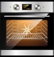electric oven in stainless steel and glass vector image