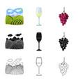 farm and vineyard icon set vector image