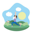 fit woman doing exercise vector image