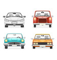 front view retro modern car icons set isolated vector image